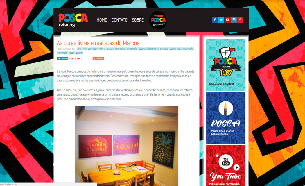 This screen capture displays the page with the story on my artwork using Posca products.